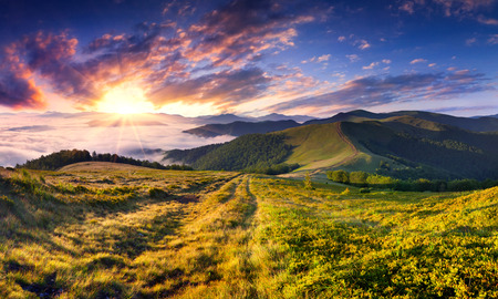 colorful sunrise: Beautiful summer landscape in the mountains. Sunrise Stock Photo