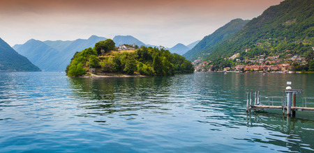 View of the island Comacina on Lake Como. Alps, Italy. photo