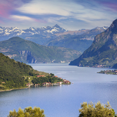 italy background: View of the Lake Iseo, a bright sunny day. Italy, Alps.