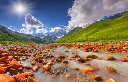 svaneti: Beautiful landscape with mountain stream. Georgia, Svaneti.