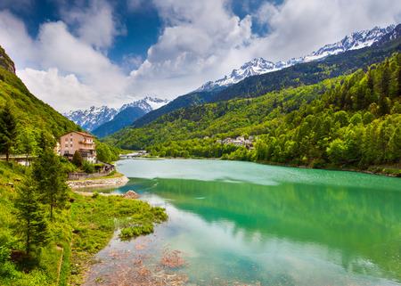 View of the lake near Frazione Pian della C�, Alps, Italy.  photo