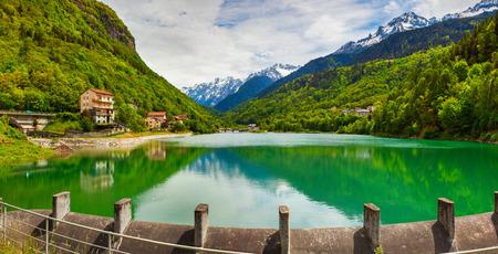 View of the lake near Villa Di Chiavenna, Alps, Italy. photo