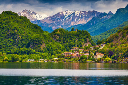sity: View of sity Arbostora, Lake Lugano, Switzerland, Alps.