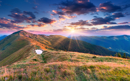 Beautiful summer landscape in the mountains. Sunset. photo
