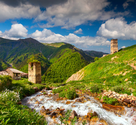 View of the village Adishi. Georgia, Svaneti.