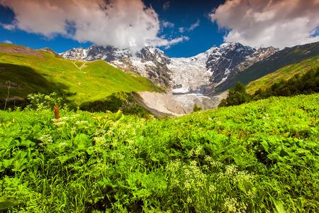Shkhara and Tetnuld mountains. The main Caucasian ridge, Georgia, Upper Svaneti, Europe. photo