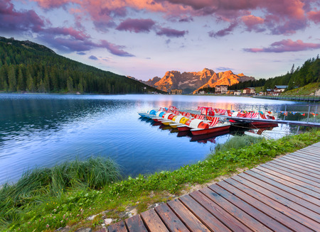 lake misurina: Colorful summer sunrise on the Lake Misurina, in Italy Alps, Tre Cime Di Lavaredo, Dolomites, Europe.