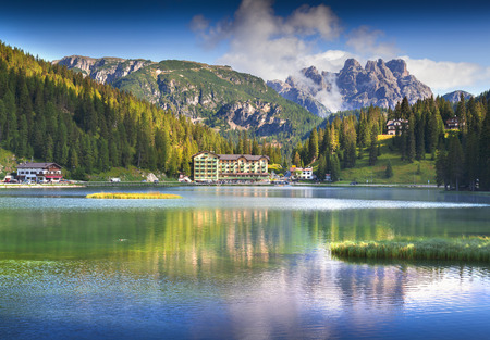 lake misurina: Beautiful summer morning on the Lake Misurina, in Italy Alps, Tre Cime Di Lavaredo, Dolomites, Europe.