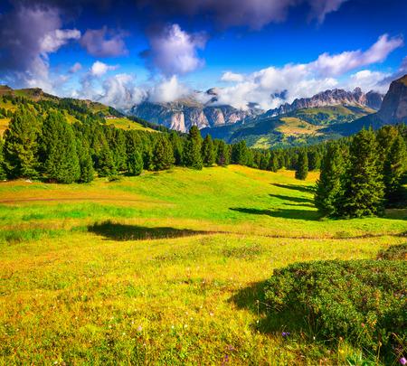 sella: Ferchetta mountain range at sunny summer day day. View from Sella pass, Dolomites mountains, Italy, Europe. Stock Photo
