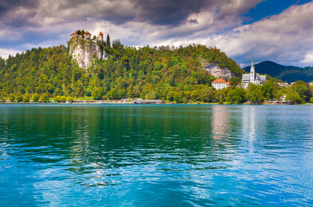 karavanke: Beautiful scene of Bled Lake, Bledsky lake. Juliansky Alpine. Slovenia.
