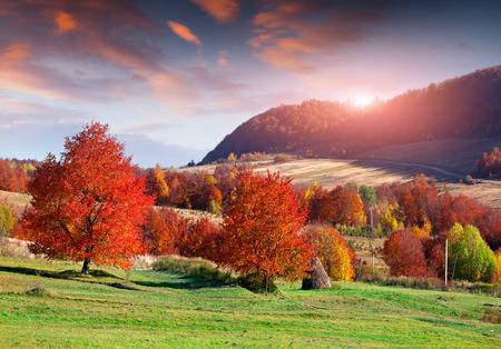 Colorful autumn sunrise in the mountain village