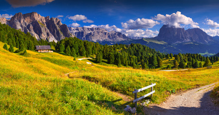 cir: Panorama of the Pizes de Cir ridge and Sassolungo (Langkofel) mountain, valley Gardena. National Park Dolomites, South Tyrol. Location Ortisei, S. Cristina and Selva Gardena, Italy, Europe