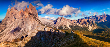 cir: Panorama of the Odle - Geisler group and Pizes de Cir ridge. National Park valley Val Gardena. Dolomites, South Tyrol. Location Ortisei, S. Cristina, Italy, Europe.