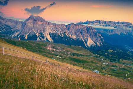 cir: Summer sunset on the Pizes de Cir ridge. National Park valley Val Gardena. Dolomites, South Tyrol. Location Ortisei, S. Cristina, Italy, Europe.