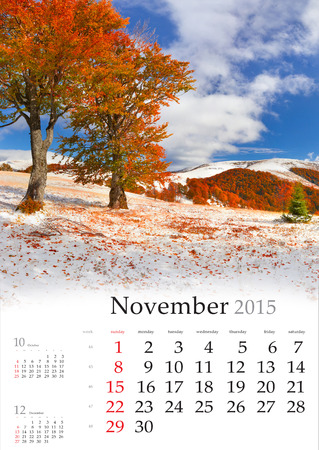 2015 Calendar. November. Beautiful autumn landscape in the mountains