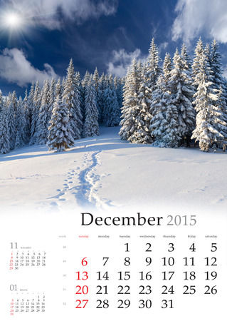 2015 Calendar. Desember. Beautiful winter landscape in the mountains. Stock Photo
