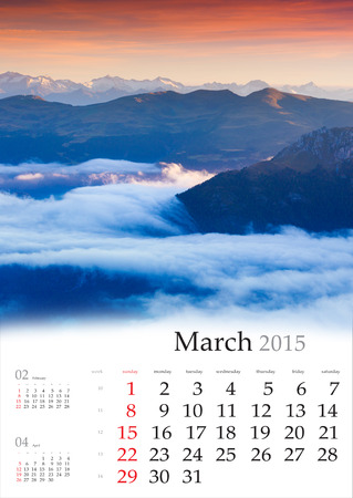 2015 Calendar. March. Foggy morning in the mountains. Stock Photo