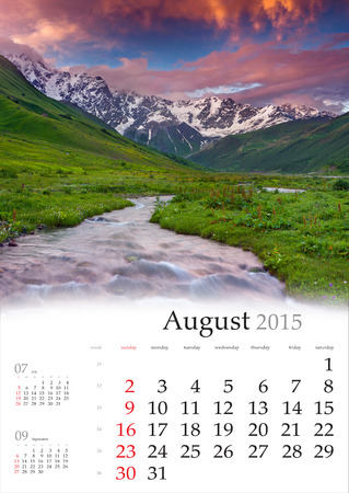2015 Calendar. August. Beautiful summer landscape in the mountains Stock Photo