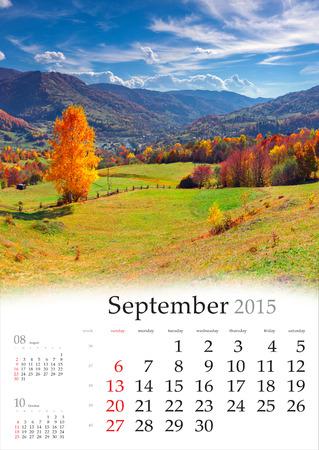 2015 Calendar. September. Beautiful autumn landscape in the mountains. Stock Photo