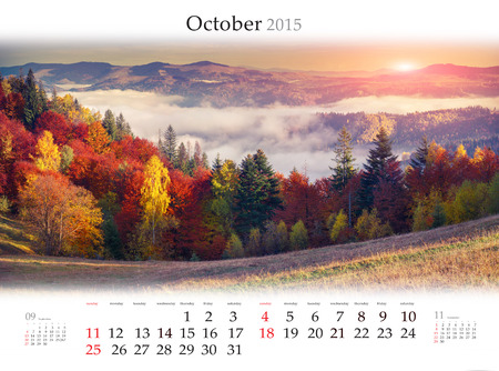 Calendar 2015 for October. Colorful autumn sunrise in mountains. Stock Photo