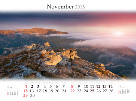 Calendar 2015 for November. Beautiful autumn landscape in the mountains