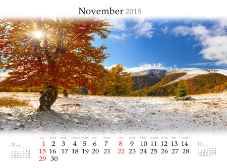 Calendar 2015 for November. Beautiful autumn landscape in the mountain forest
