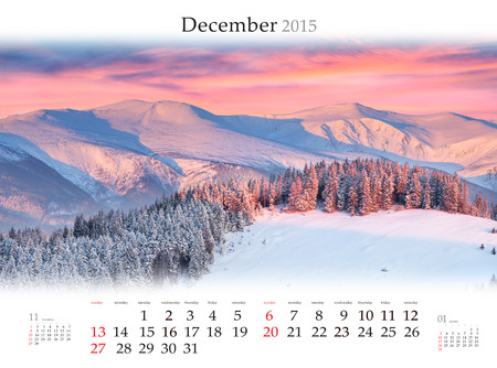 Calendar 2015 for December. Beautiful winter landscape in the mountains. Stock Photo
