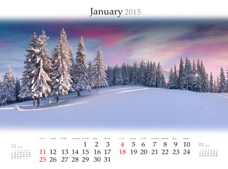 Calendar 2015 for January. Beautiful winter landscape in the mountains.