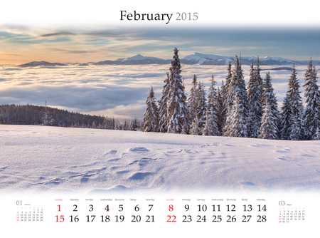 Calendar 2015 for February. Beautiful winter landscape in the mountains.