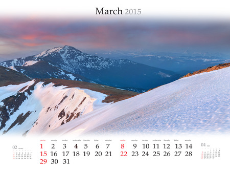 Calendar 2015 for March.  Colorful morning in the mountains.