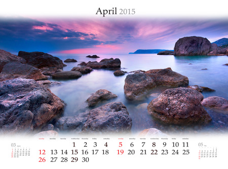 Calendar 2015 for April. Colorful spring sunset on the sea Stock Photo