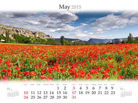 Calendar 2015 for May. Blooming field of poppys