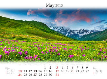 Calendar 2015 for May. Colorful spring landscape in the mountains
