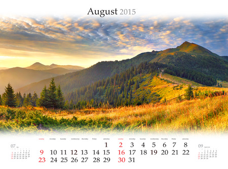 Calendar 2015 for August. Beautiful sunrise landscape in the mountains Stock Photo