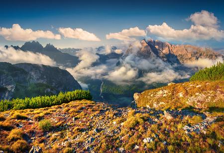 View of the Cadini di Misurina range from Monte Piana in National Park Tre Cime di Lavaredo. Dolomites, South Tyrol. Location Auronzo, Italy, Europe. photo