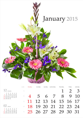 2015 Calendar. January. Bright flower bouquet on white background