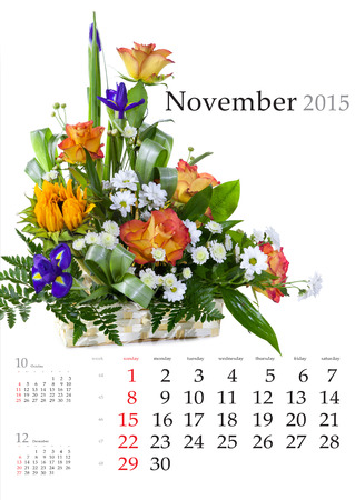 2015 Calendar. November. Bright flower bouquet on white background Stock Photo