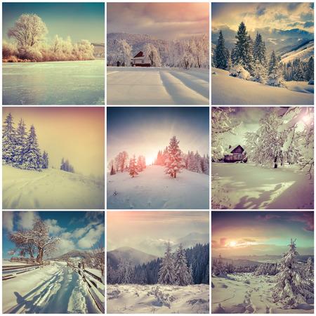 Winter collage with 9 square Christmas landscapes. Carpathian region, Ukraine, Europe. photo