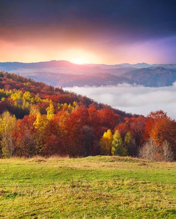 autumn sky: Colorful autumn morning in the Carpathian mountains. Sokilsky ridge, Ukraine, Europe.