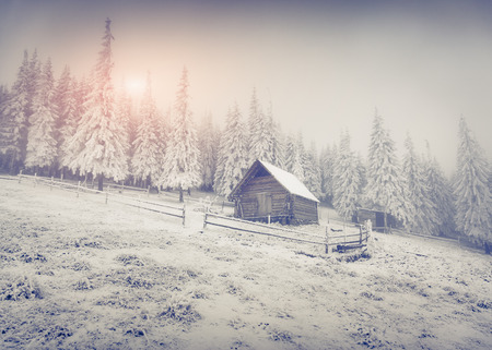 old farm: Old farm in the mountains. Colorful winter morning. Retro style.