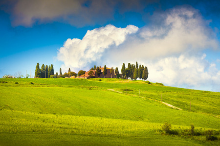val d'orcia: Scenic Tuscany landscape with rolling hills and valleys, Val dOrcia, Italy