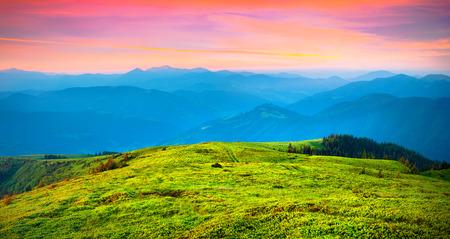 Colorful summer sunrise in the carpathiam mountains. Ukraine, Europe. photo