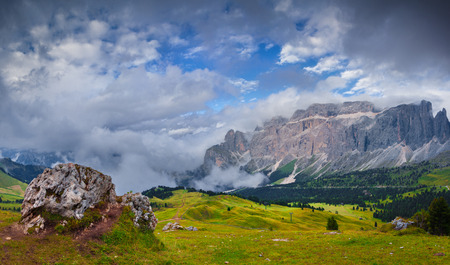 selva: Views of the Seela Towers range. National Park Dolomites, South Tyrol. Location Ortisei, S. Cristina and Selva, Italy, Europe.