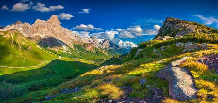 Panoramic views of the Pale di San Martino from Passo Rolle, Trentino - Dolomites, Italy. Cimon della Pala mountain ridge.