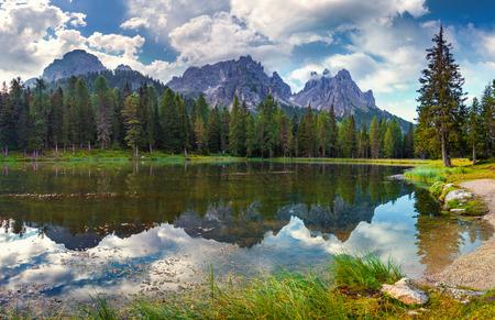 Great view of the Lago Di Antorno in National Park Tre Cime di Lavaredo. Cadini di Misurina Range, Dolomites, South Tyrol. Location Auronzo, Italy, Europe. photo