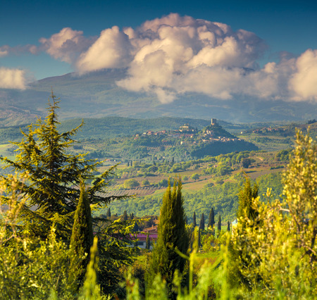 val dorcia: Cloudy morning on countryside in Tuscany, Val dOrcia, Italy, Europe