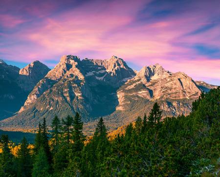 blue mountains: Colorful sunrise on the Cristallo group range in National Park Tre Cime di Lavaredo. Dolomites, South Tyrol. Location Auronzo, Italy, Europe. Stock Photo