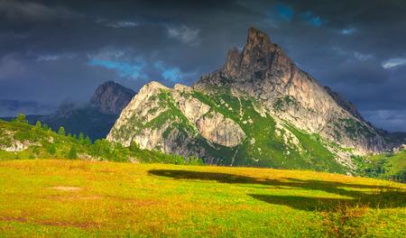 stria: Fantastic summer landscape on the Sass De Stria mountain range. View from Falzarego pass. Dolomites mountains, Alps, Italy, Europe. Stock Photo