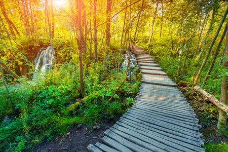 Wooden tourist path in Plitvice lakes national park, Croatia, Europe. Colorful summser sunrise.