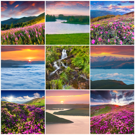 Collage with 9 square summer landscapes. photo
